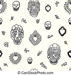 Vector day of the dead shugar skull doodle pattern.