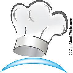 vector, de, chef sombrero, símbolo, logotipo