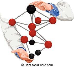 vector, de, doctor, mano, con, molécula, structure.