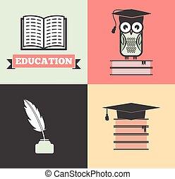 vector, de, educación, concepto