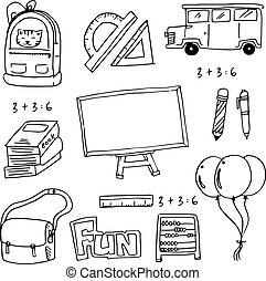 vector, de, escuela, educación, doodles