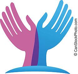 vector, de, esperanzado, manos, logotipo