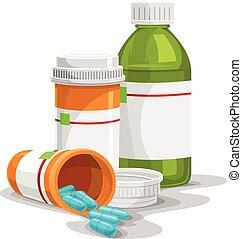 vector, de, prescripción, cápsula, y, bottles.
