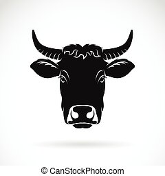 vector, de, vaca, blanco, fondo.