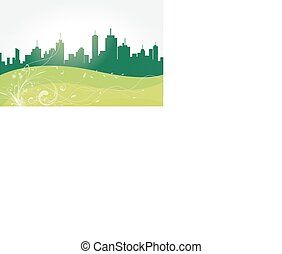 vector, de, verde, city.