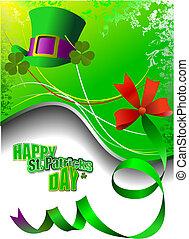 vector, de, verde, sombreros, y, tréboles, para, s., patrick\'s, día