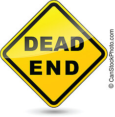 Vector illustration of dead end yellow sign on white background