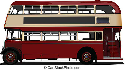 vector, decker, doble, rojo, enfermo, bus.
