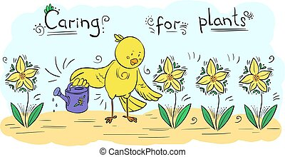 Vector decor illustration Bird watering plants - greeting card