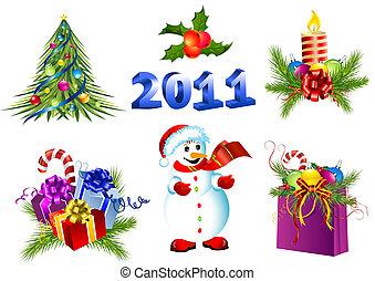vector, decoración de navidad, conjunto