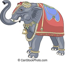 Vector. Decorated Indian elephant.