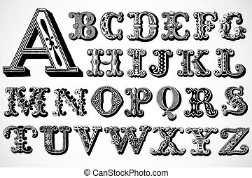 vector, decoratief, lettertype, set