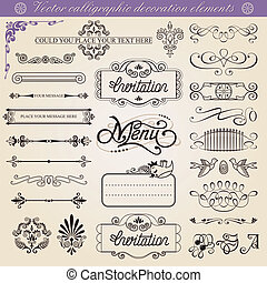 vector, decoraties, calligraphic