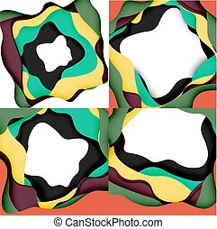 Vector decorative background. Abstract web template with cut...