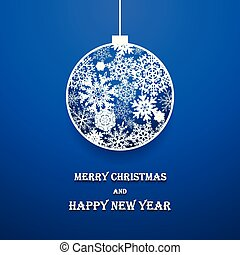 Vector decorative ball made of paper snowflakes on blue background.