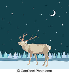Vector decorative border from reindeer with antler on seamless background of trees snow, night sky with star and moon