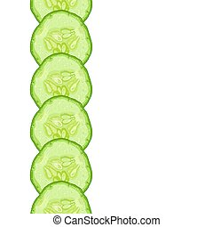 Vector decorative border of cucumber slice on white background