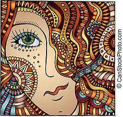 Vector decorative cartoon red hair girl illustration