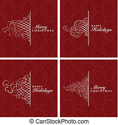 Vector Decorative Christmas Frame Set