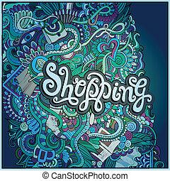 """vector decorative design card """"shopping"""" ;"""