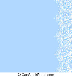 Vector decorative frame from white snowflakes on blue background. Greeting invitation card for Christmas, New Year