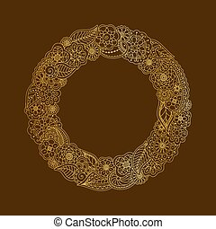 Vector decorative frame of gold doodle floral elements. Hand drawing circle frame