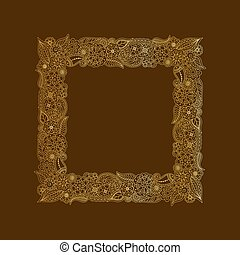 Vector decorative frame of gold doodle floral elements. Hand drawing frame