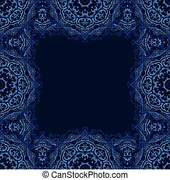Vector decorative frame with copy space. Frame made from blue snowflakes on dark background