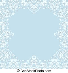 Vector decorative frame with copy space. Frame made from white snowflakes on blue background