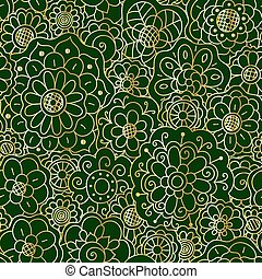 Vector decorative golden floral mandala seamless pattern on dark green background