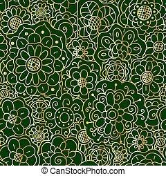 Vector decorative golden floral mandala seamless pattern on dark green background