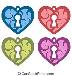 vector Decorative heart with a keyhole. set