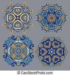 Vector decorative ornamental snowflakes set