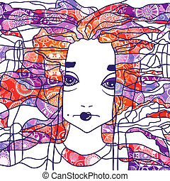 Vector decorative portrait of a woman. Creative artwork.