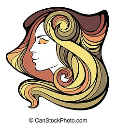 Vector decorative portrait of shaman girl with color long hair
