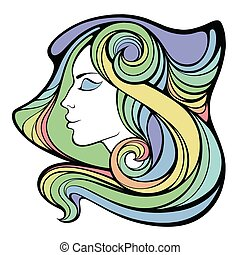 Vector decorative portrait of shaman girl with color long hair isolated on white background.