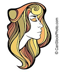 Vector decorative portrait of shaman girl with color long hair isolated on white.