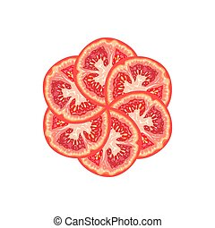 Vector decorative round from tomato slice on white background