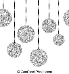 Vector decorative seamless Christmas border with tree ball from floral doodle elements on white background. Christmas seamless coloring page book for adult