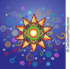 Vector decorative sun