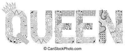vector, decorativo, objeto, zentangle, coloring., palabra, ...