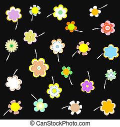 vector, decorativo, papel pintado, con, flores, en, negro