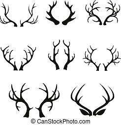 Vector deer antlers silhouette isolated on white. Set of...