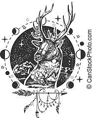 Vector deer head tattoo or t-shirt print design