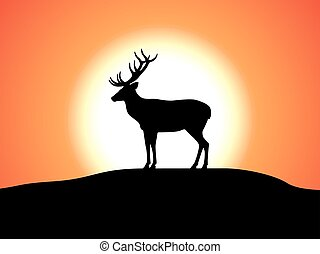 Vector deer with horns standing against the sunset