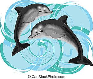vector, delfín, ilustración