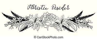 vector, delicaat, floral, tekst, divider., bloem, ontwerpen basis
