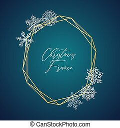 Vector Delicate Christmas Gold Frame with Snowflakes