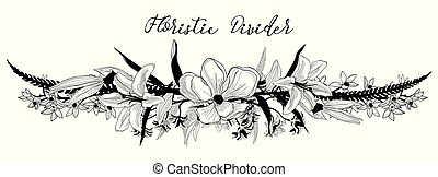 Vector Delicate Floral Text Divider. Flower Design Element