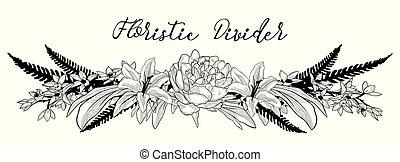 Vector Delicate Floral Text Divider. Flower Design Element